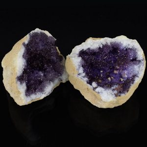Quartz Geode - Dyed Purple Pair