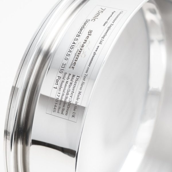 300 mm Diameter Stainless Steel Sieves by Glenammer Showing Laser Engraved Label