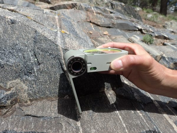 Using the Brunton Axis to measure foliated rock