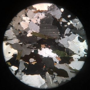 Gneiss Microscope Slide Cross Polarised Light